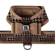 Big Bow Two-Tone Tinkie Harness- Chocolate Glen Houndstooth & Fawn