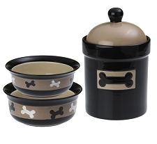 Branson Bones Ceramic Food & Water Bowl Set