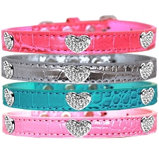 Crystal Hearts Faux Croc Dog Collar