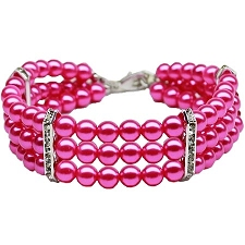 Glamorous Triple Row Pearl Necklace- Hot Pink