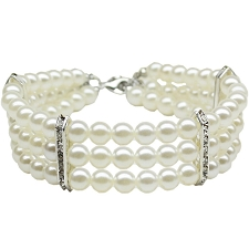 Glamorous Triple Row Pearl Necklace- White
