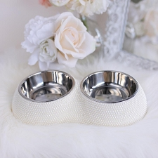 Glamour Pearl Double Pet Feeder