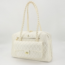 Porsha Quilted Dog Carrier- Cream