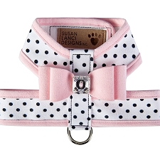 Big Bow Two-Tone Tinkie Harness- Polka Dot & Puppy Pink