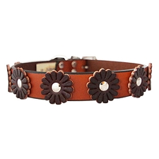 Auburn Leather Flower Dog Collar- Tan