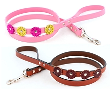 Auburn Leather Flower Dog Leash- Tan and Pink