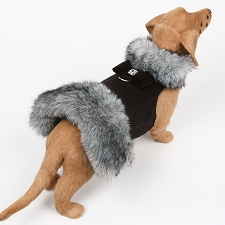 Big Bow Black Tipped Silver Fur Dog Coat- Black