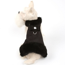 Big Bow Crystal Black Mink Fur Dog Coat- Black