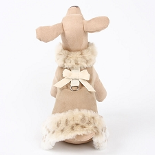 Camel Lynx Dog Coat with Velvet Bow