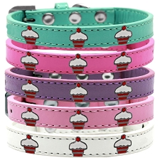 Cupcake Cutie Faux Leather Dog Collar