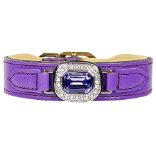 Haute Couture Swarovski Crystal Leather Dog Collar- Purple