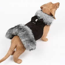 Nouveau Bow Black Tipped Silver Fur Dog Coat- Black