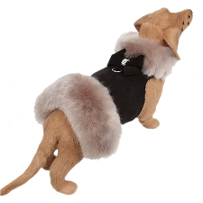 Nouveau Bow Soft Silver Fox Fur Dog Coat- Black