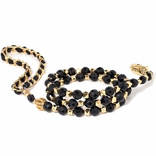 Royal Coco Beaded Dog Leash- Black & Gold