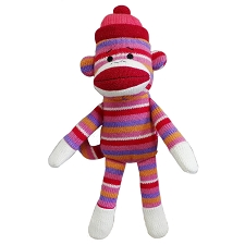 Pink Sock-Monkey Dog Toy