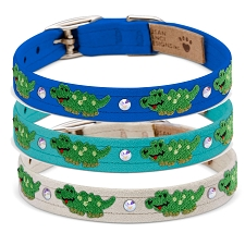 Alligator Swarovski Crystal Dog Collar - 20 Colors