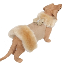 Nouveau Bow Champagne Fur Dog Coat- Camel