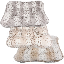 Square Snow Leopard Dog Beds by Susan Lanci