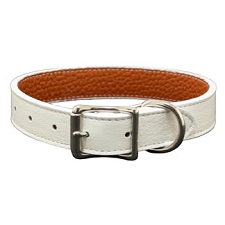Tuscany Italian Leather Dog Collar- White