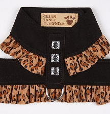Two-Tone Pinafore Crystal Dog Harness- Cheetah and Black