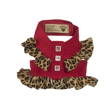 Two-Tone Pinafore Crystal Dog Harness- Cheetah and Red