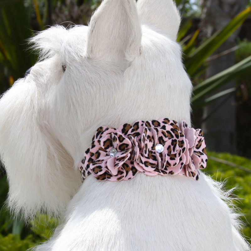 pink cheetah ultrasuede collar