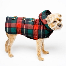 Toggle Wool Hooded Dog Coat- Navy Plaid