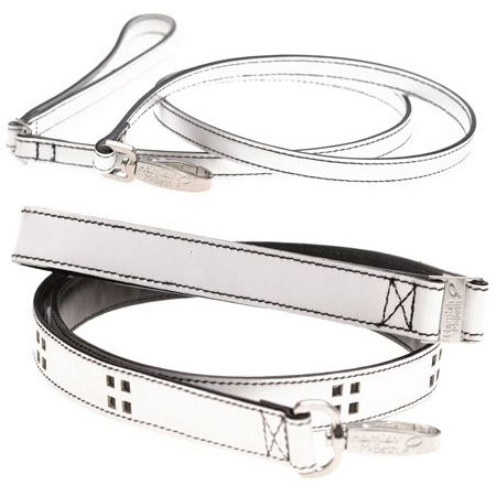 white leather dog leads