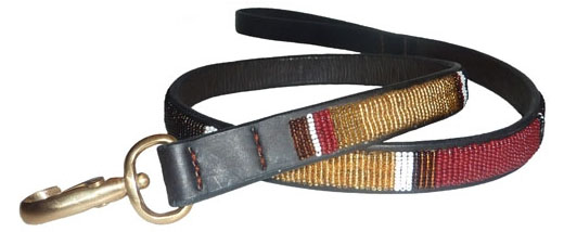 African Beaded Leather Dog Leash Kenyan Topi