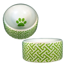 Trellis Green Dog Bowl