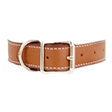 Tuscany Italian Leather Dog Collar - Auburn Brown