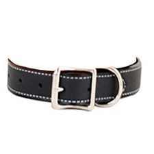 Tuscany Italian Leather Dog Collar - Midnight Black