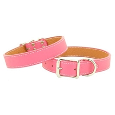 Tuscany Italian Leather Dog Collar - Peony Pink
