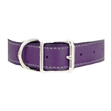 Tuscany Italian Leather Dog Collar - Plum Purple