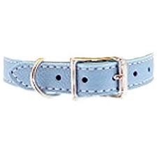 Tuscany Italian Leather Dog Collar - Sky Blue