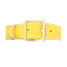 Tuscany Italian Leather Dog Collar - Daffodil Yellow