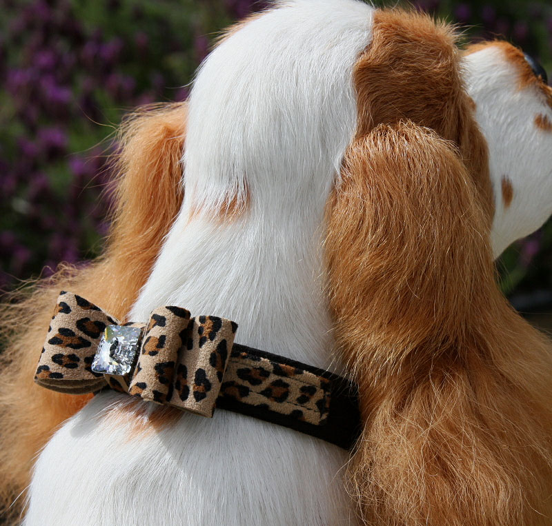Susan Lanci Jumbo Big Bow Two Tone Crystal Dog Collar