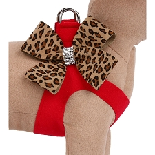 Two-Tone Nouveau Bow Step-In Dog Harness- Red Cheetah