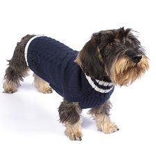 Varsity Cable Alpaca Sweater- Navy
