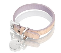 Vachetta Italian Patina Leather Dog Collar - Violet/Natural