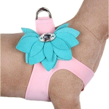 Water Lily Crystal Two-Tone Step-In Harness- Puppy Pink and Bimini Blue