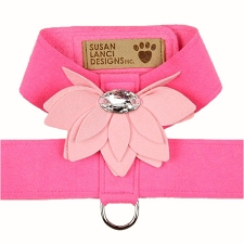 Water Lily Two-Tone Dog Harness by Susan Lanci- Perfect Pink and Puppy Pink
