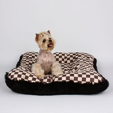 Windsor Check Shag Square Dog Bed