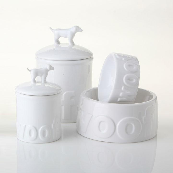 Woof Ceramic Dog Bowls And Treat Jars Designer Boutique At Glamourmutt