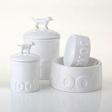 Woof Ceramic Dog Bowls and Treat Jars