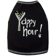 Yappy Hour Martini Dog Shirt with Crystals