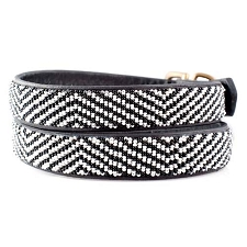 Handmade African Beaded Leather Dog Collar - Zebra