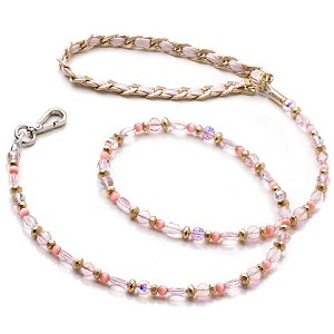 5th Avenue Crystal & Leather Dog Leash- Rose