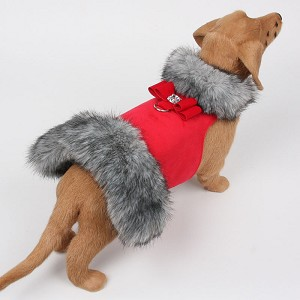 Big Bow Black Tipped Silver Fur Dog Coat- Red