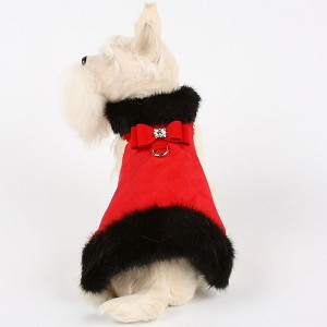Big Bow Crystal Black Mink Fur Dog Coat- Red